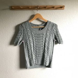 UO Short Sleeve Metallic Sweater
